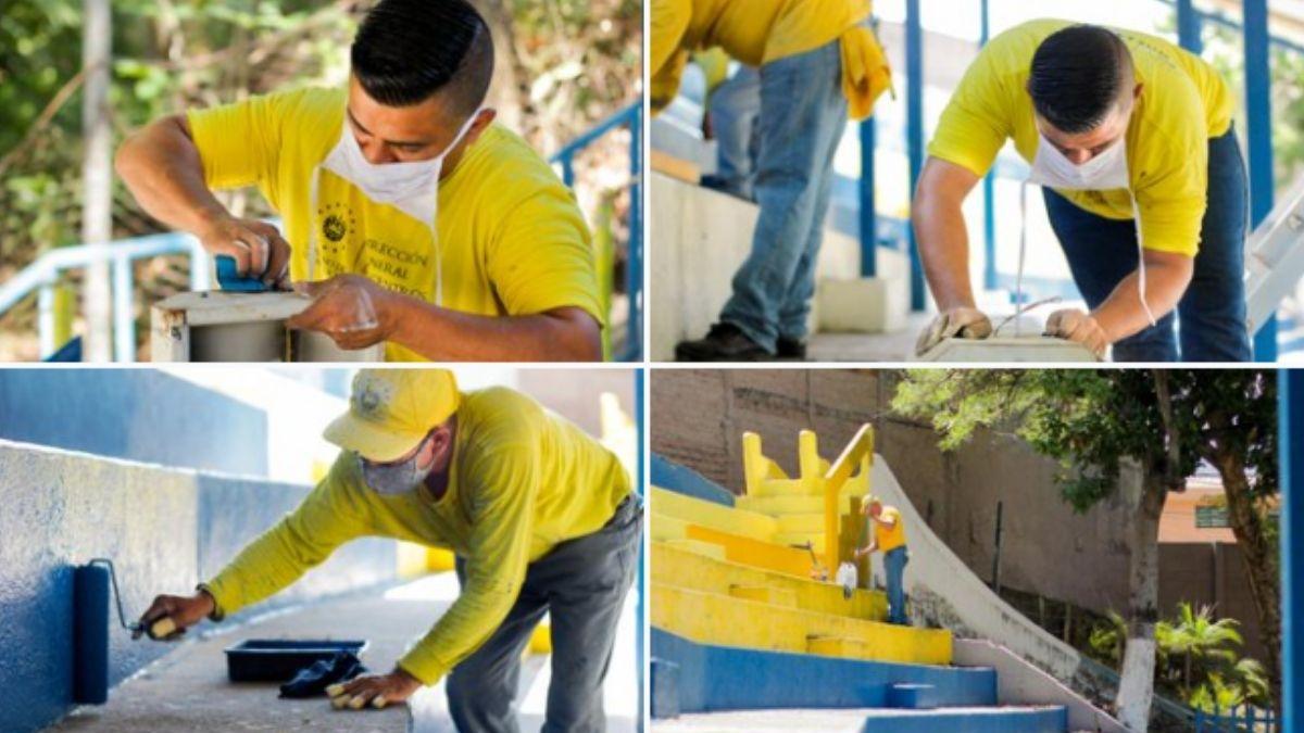 Reos del Plan Cero Ocio trabajan en la restauración de distintos centros escolars